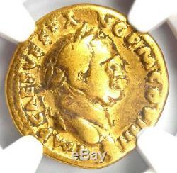 Roman Vespasian Gold AV Aureus Neptune Coin 69-79 AD Certified NGC Fine