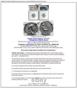 TIBERIUS 36AD Silver BIBLICAL Roman Coin Jesus Christ RENDER CAESAR NGC i82351