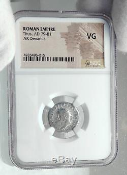 TITUS Authentic Ancient 80AD Genuine Silver Roman Coin TRIPOD DOLPHIN NGC i81401