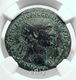 TRAJAN Authentic Ancient 104AD Rome Roman Coin DANUBIAN Danube Bridge NGC i80625