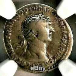 Trajan 98-117 AD. Magnificent Denarius. Rare Ancient Roman Silver Coin, NGC Ch F