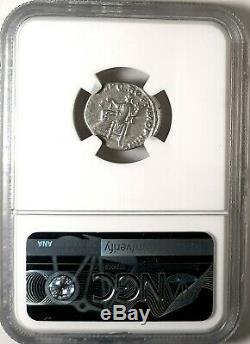 Trajan struck 107 AD. Superb Denarius Luster Ancient Roman Coin. NGC Fine Silver