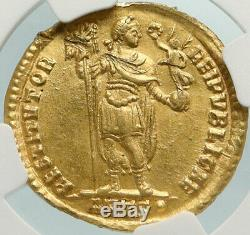 VALENS w Christian CHI-RHO Ancient 366AD Gold Roman Solidus Coin NGC i84774