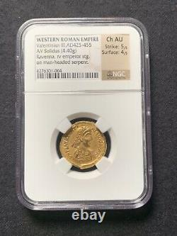 VALENTINIAN III, 425-455 Roman Empire Gold Solidus NGC Ch. AU 5/5, 4/5 Nice Coin