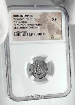 VESPASIAN 69AD Rome Authentic Ancient JUDAEA CAPTA Silver Roman Coin NGC i80693