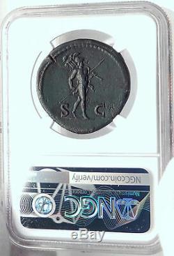 VESPASIAN Authentic Ancient 71AD Rome Sestertius Roman Coin MARS NGC i82360