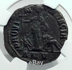 VOLUSIAN 252AD VERY Rare CHRISTIAN CROSS Roman DACIA Coin Eagle Lion NGC i78515