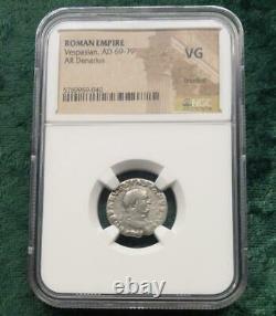 Vespasian Roman Empire AR Denarius, AD 69-79 NGC VG, Very Good Ancient Coin