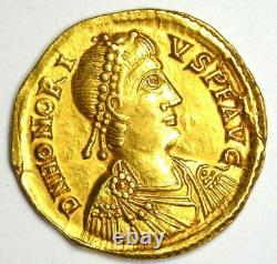 Western Roman Honorius AV Solidus Gold Coin 393-423 AD NGC AU (Certificate)
