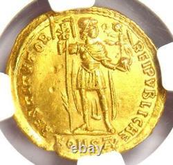 Western Roman Valentinian I AV Solidus Gold Konstan Coin 364-375 AD NGC MS UNC