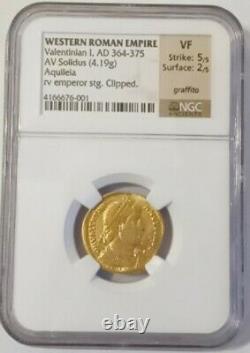 Western Roman, Valentinian I AV Solidus Gold Konstan Coin 364-375 AD NGC VF