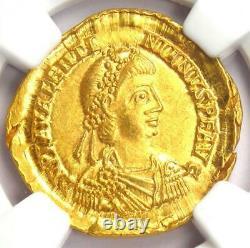 Western Roman Valentinian III AV Solidus Gold Coin 425-455 AD NGC MS (UNC)