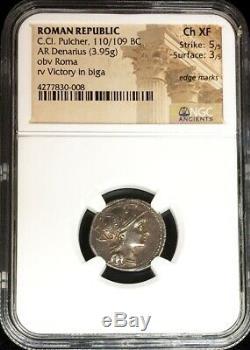 110/109 Bc Argent République Romaine Ar Denier C. Cl. Pulcher Coin Ngc Ch Xf