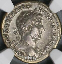 121 Hadrien Empire Romain Denier Empereur Coin Don Scène Ngc Xf (18102802c)