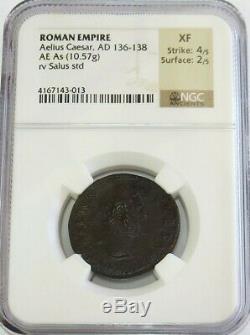 136 -138 Ad Empire Romain Aelius Caesar Ae Comme Salus Coin Ngc Prachtig