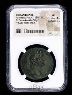 138 161 Antonin Le Pieux Annonce Sestertius Ancienne Pièce Romaine Salus Feeds Serpent N