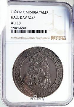 1694 Autriche Saint-empire Romain Leopold I Argent Taler / Thaler Coin Ngc I82832