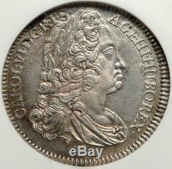1740 Autriche Saint-empire Romain Germanique Charles Karl VI Argent 1/4 Taler Coin Ngc I84782