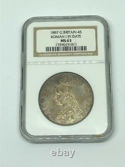 1887 Grande-bretagne 4 S Shillings Roman I Date D'argent Monnaie Ms 63 Rare