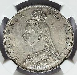 1887 Grande-bretagne 4 Shillings Double Florin Roman I Silver Coin Ngc Ms 63