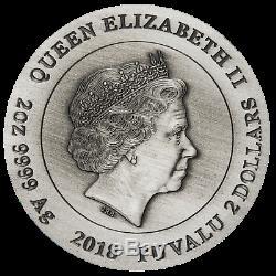 2018 P Guerre De Tuvalu Légion Romaine Antiqued 2oz D'argent 2 $ Monnaie 3d Ngc Pf70 Fr