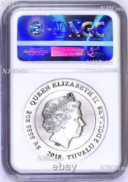 2018 P Tuvalu Guerre Légion Romaine Antiqued 2oz Argent 2 $ 3d Coin Ngc Pf70 Er