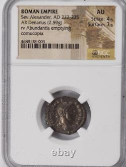 222-235 Ad Empire Romain Denarius Ngc Au Ancient Coin Severus Alexander