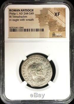 244- 249. Antioche Romaine Bi Tetradrachm Philippe Ier Aigle Coin Ngc Prachtig