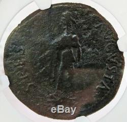 41-54 Ad Comptoir V Romain Estampillé Claudius Ae Sestertius Monnaie Ngc Très Bien