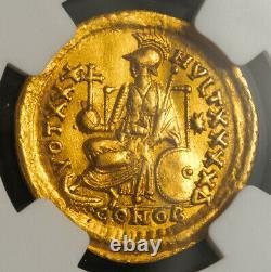 450, Empire Romain D'orient, Théodose Ii. Rare Gold Solidus Coin. Choix Du Mbac Xf