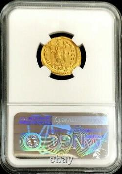 474-491 Ad Gold Eastern Roman Empire Zeno Solidus Victory Coin Ngc Au 4/3