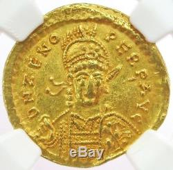 474-491 Ad Gold Empire Romain Oriental Zeno Solidus Pièce De La Victoire Ngc Choice Xf 5/3