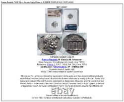 78bc Argent Pièce Ancienne De Rome Avec Jupiter Temple Ngc Cert I85681