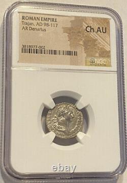 98-117 Ad Empereur Tarjan Empire Romain Argent Denarius Ngc Au Pièce Antique
