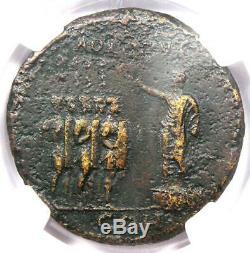 Ancien Caligula Romain Ae Sestertius Soldats Coin 37-41 Ad Ngc Choix Vf