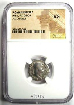Ancien Nero Romain Ar Denarius Coin 54-68 Ad Certifié Ngc Vg Rare Coin