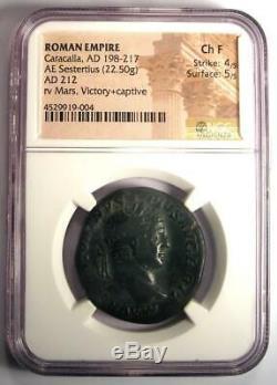 Ancien Romain Caracalla Ae Sestertius Mars Victoire Coin 212 Ad Ngc Choix Fin