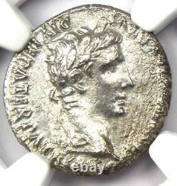 Ancien Roman Augustus Ar Denarius Pièce 27 Bc 14 Ad Certified Ngc Choice Au