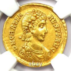Ancien Roman Gratien Av Solidus Gold Coin 367-383 Ad Certifié Ngc Au