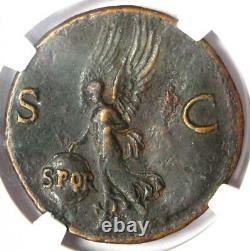 Ancien Roman Nero Ae Comme Pièce 54-68 Ad Certifié Ngc Vf Rare