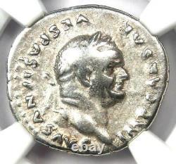 Ancien Vespasien Romain Ar Denarius Silver Coin 69- Ad Certifié Ngc Choice Fine