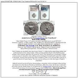 Ancienne Guerre Juive Contre Romains Argent Année 4 Shekel De Jerusalem Pièce Ngc I80330