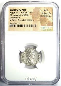 Ancient Roman Augustus Ar Denarius Coin 27 Av. J.-c. 14 Ad Certifié Ngc Au