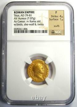Ancient Roman Empire Titus Gold Av Aureus Coin 79-81 Ad Certifié Ngc Fine