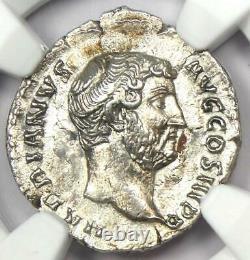 Ancient Roman Hadrian Ar Denarius Coin 117-138 Ad Certifié Ngc Au