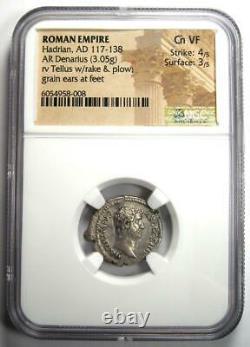 Ancient Roman Hadrian Ar Denarius Coin 117-138 Ad Certifié Ngc Choice Vf