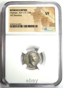Ancient Roman Hadrian Ar Denarius Coin 117-138 Ad Certifié Ngc Vf