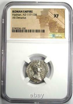Ancient Roman Hadrian Ar Denarius Coin 117-138 Ad Certifié Ngc Xf (ef)