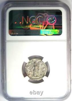 Ancient Roman Macrinus Ar Denarius Silver Coin 217-218 Ad Certifié Ngc Au