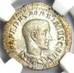 Ancient Roman Maximus Ar Denarius Argent Monnaie 235-238 Ad Certifié Ngc Au